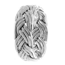 WOMENS HAND BRAIDED RING 10K WHITE GOLD MENS BRAIDED WEDDING BANDS GOLD 7MM