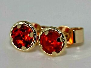 UK made Solid 9 carat halo stud earrings, Mexican Fire Opal  gemstone