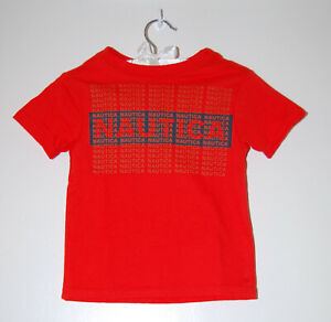 NWT Nautica Toddler Boys Fiery Red Short Sleeve Logo T-Shirt sz 2T 3T 4T