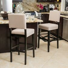 Set of 2 Soft Tan Padded Seat Bar Stool 30 in Height Chair Kitchen Wood Frame
