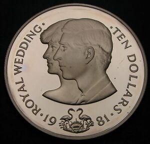 BAHAMAS 10 Dollars 1981 Proof - Silver - Wedding - 844