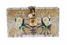 NWT DOLCE & GABBANA Bag Purse BOX Plexi Flower Hand Painted Da Sera Clutch