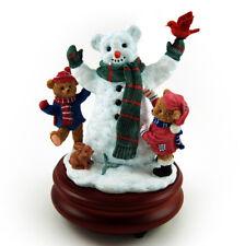 Thread Bears - Frost the Snowman with Cub Playmates Music Figurine - MBA Reg $95