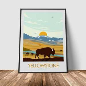 The Bison of Yellowstone National Park Art Poster Print Minimalist Poster, Print