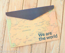 Map Paper File Envelope cute world stationery document bag school pouch holder