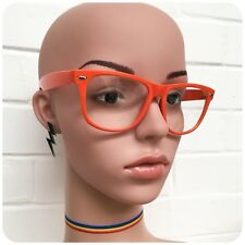 RETRO 80s CLEAR LENS ORANGE HORN RIM WAYFARE GEEK GLASSES BRAND NEW UV400