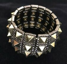 Chunky Spike Studded Stretch Bracelet  Antique Silver & Gold Tone Statement Cuff