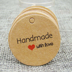 100Pcs Round Paper Tags HAND MADE WITH LOVE Craft Cookies Gift Wedding Christmas