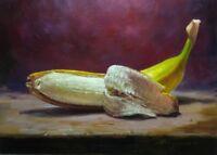 GOLD banana, BEAUTIFUL Still Life, ORIGINAL painting.Oil. artist V. Shurganov