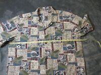 Royal Creations Hawaiian Tiki Tropical Men Short Sleeve Green Blue Shirt XL