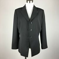 Tahari ASL Womens Blazer Size 12 Black Pinstriping 3 Button Lined Career