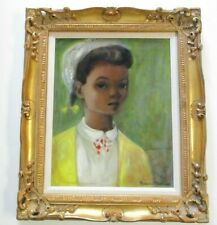 VINTAGE BLACK AMERICANA PAINTING PORTRAIT YOUNG WOMAN GIRL CHILD MID CENTURY MOD