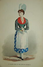 Litho COSTUME COULEUR FASHION MODE SUISSE SCHWEIZ SCHWYTZ 1850 KANTON
