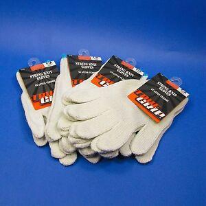 Work Gloves Garden Cotton Knit String 5 Pair TRUE GRIP white light duty Utility