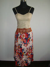 white blue red floral skirt off white corset top two piece korean dress