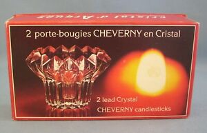 Crystal Candle Holders Chevron Pair Lead Crystal Clear France Candlesticks New