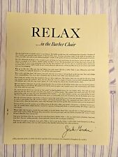 """1951 Vintage """"RELAX...IN THE BARBER CHAIR"""" Barbers Perspective Sign Ad"""