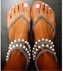 Womens Beads  Flip Flops Shoes Flat Heel roman Style Plus Sz  Gladiator Sandals