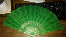 lady's handheld fan, green with sequins