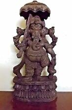 Vintage Ganesha Sculpture Hindu God Umbrella Ganesh Statue Temple Figurine Murti