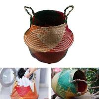 New Rattan Folding Wicker Round Sea Grass Plant Storage Basket Home Tool