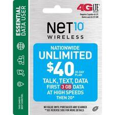 NET10 NTP2U040 Wireless $40 30-Day Plan Prepaid Phone Card