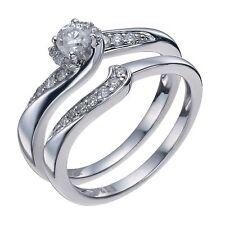 9CT WHITE GOLD 0.33 CARAT DIAMOND SOLITAIRE ENGAGEMENT / WEDDING RING SET