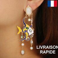 Boucle D'oreille Poisson Original Bijou Cadeau Femme Anniversaire Fête Des Mères