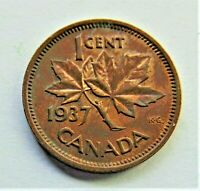 1937 CANADA, George VI small Cent, grading About UNCIRCULATED
