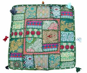 """Handmade Indian Cotton Patchwork Ottoman Poufs Cover Footstool 22X22X5"""" Inches"""