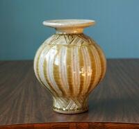 Vase Studio Pottery Green Striped Frank Polizzi Wisconsin Signed Vintage Pot