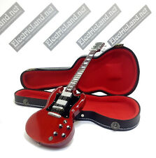 Mini Guitar AC/DC Angus Young + hard case shaped box 1:4 miniature collectible