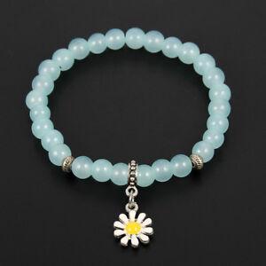 Women Fashion Natural Glass Beads Elastic Bangle Sunflower Daisy Charm Bracelet