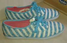 KEDS  Champion Washed Stripe Blue  Sneaker Shoes ~ New ~ 8.5 ~ WF49845