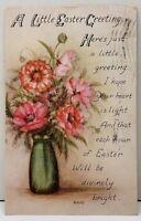 Easter Greetings Poem Vase of Flowers,  1916 Millbury Mass Postcard F1
