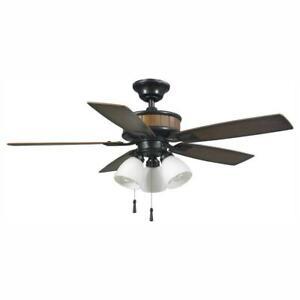 "Hampton Bay Riverwalk 42"" LED Indoor/Outdoor Natural Iron Ceiling Fan w/Light Kt"