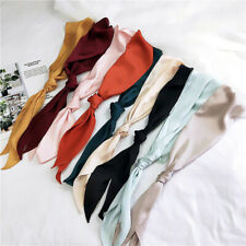 Women Vintage Silk Scarf Skinny Head Neck Outdoor Summer Reversible Kerchiefs