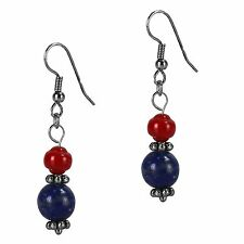 Antiqued Silver Dangle Fashion Drop Earrings Blue Lapis Coral Grace of New York
