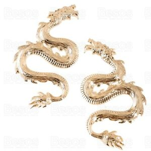 OVERSIZE FIERY DRAGON statement GOLD PLATED EARRINGS large snake MIRRORED PAIR