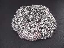 Auth Chanel Vintage Fabric Black & White Camellia Pin Brooch
