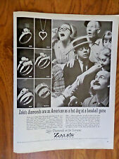 1965 Zales Jewelry Ad Diamond are as American as a Hot dog at a Baseball Game