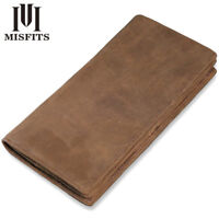 New Men's Genuine Leather Wallets Vintage Long Card Holder Coin Money Clip Brown
