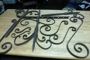 Vintage wrought iron thick rusty gate gothic steampunk heavy thick apx 10 pcs