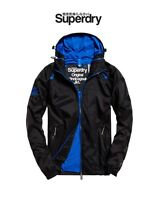 New Mens Superdry Dual Zip Shower Resistant Wind Cagoule Light Jacket Black