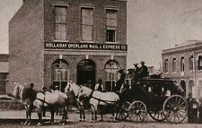 """"""" Stagecoach """" Holladay Overland Mail & Express Company c 1870, Horses, Postcard"""