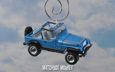 Blue 1987 Jeep Wrangler Rio Grande Custom Ornament 1/64 Adorno 4x4 Open Top Yj