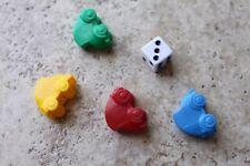 Monopoly Junior Plastic Cars Tokens dice die 5 piece lot replacement game pcs
