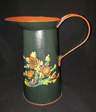 Toleware Hand Painted Pitcher Black & Red Signed by Artist Mili