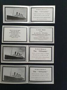 4 Original White Star Line Titanic memorial cards.