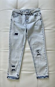 Justice Girls Jeans Ancle Bleach Relaxed Patches Size 16